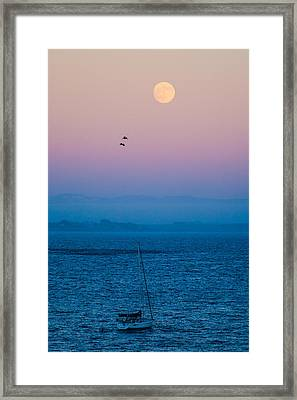 Moonrise Over Capitola Framed Print by Tommy Farnsworth