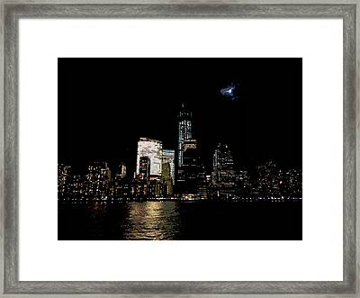 Moonrise Over Freedom Tower Framed Print by Lewis Mengersen