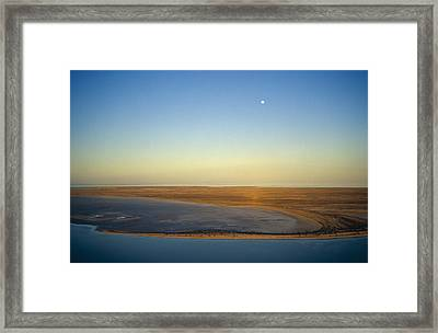 Moonrise Over Lake Eyre In Flood Framed Print by Jason Edwards