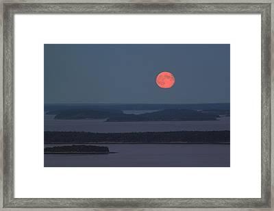 Moonrise Over Penobscot Bay From Camden Hills Framed Print by John Burk