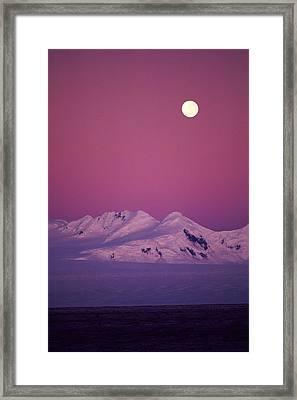 Moonrise Over Snowy Mountain Framed Print by Stockbyte