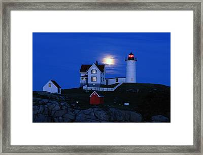 Moonrise Over The Nubble Lighthouse Framed Print by Darlyne A. Murawski