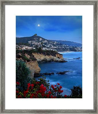 Moonrise Over Treasure Island Beach Framed Print by Dave Sribnik