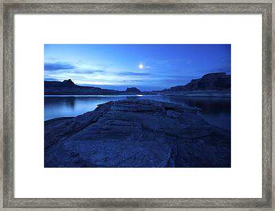Moonrise Over West Canyon And Lake Framed Print by Michael Melford
