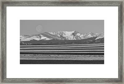 Moons Set From The Colorado Plains Bw Framed Print