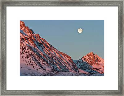 Moonset From The Buttermilks Framed Print by Donald E. Hall