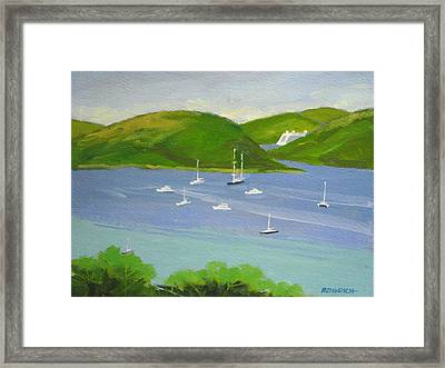 Moored Boats In Charlotte Amalie Bay Framed Print by Robert Rohrich