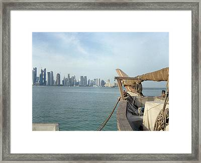 Moored Dhow And Doha Framed Print