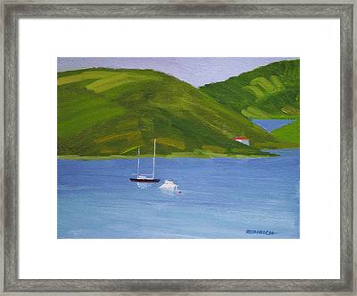 Moored Ketch At Hassel Island Framed Print by Robert Rohrich