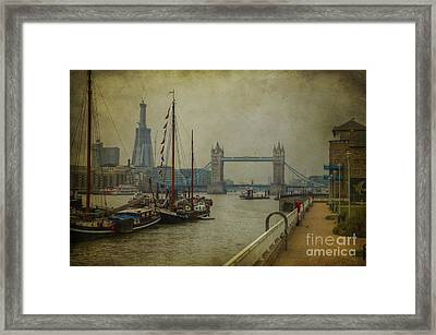Moored Thames Barges. Framed Print by Clare Bambers