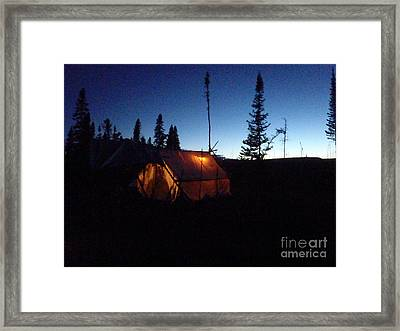 Moose Camp At Sunset Framed Print by Adam Owen
