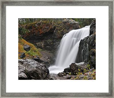 Moose Falls Yellowstone National Park Nature Waterfall Framed Print