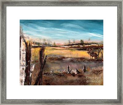 Framed Print featuring the painting Moose Landscape by France Laliberte