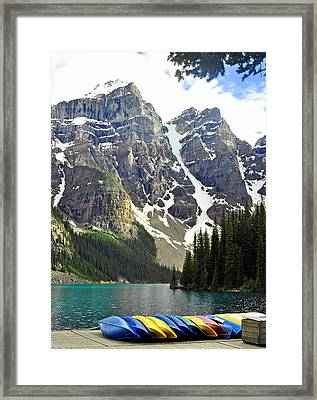 Framed Print featuring the photograph Moraine Lake by Lisa Phillips