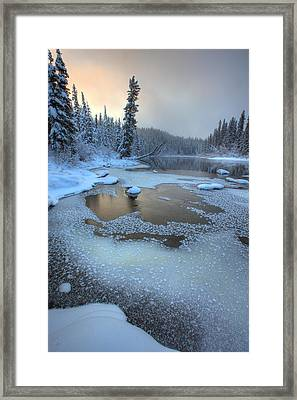 Morley River In Winter Near Teslin Framed Print