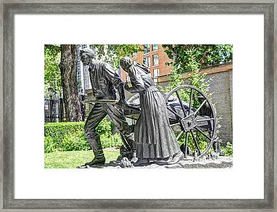 Mormon History - Hand Cart Statue Framed Print by Gary Whitton