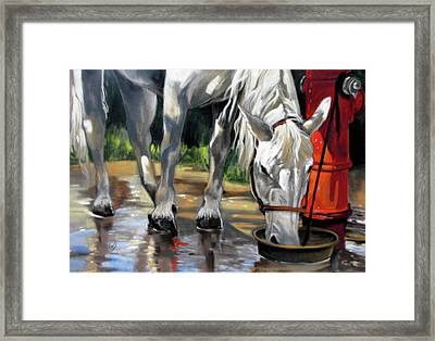 Framed Print featuring the painting Morning Bath Now Breakfast by Rae Andrews