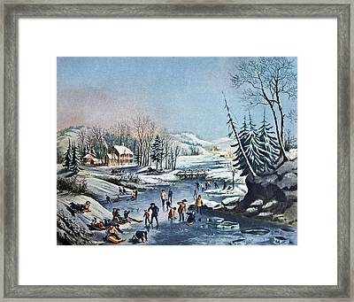 Morning By Currier And Ives Framed Print by Susan Leggett
