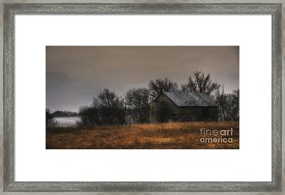 Framed Print featuring the photograph Morning Fog At Jorgens Barn by Trey Foerster