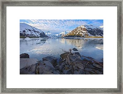 Morning Light At Portage Lake Framed Print