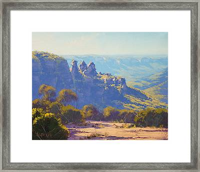 Morning Light Three Sisters Framed Print by Graham Gercken