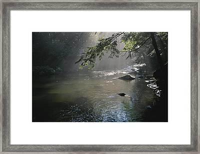 Morning Mist Lifts Off The Tellico Framed Print by Stephen Alvarez