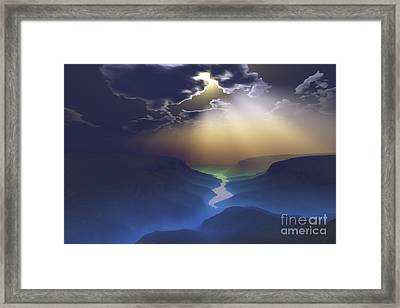 Morning Mist Surrounds The Mountains Framed Print by Corey Ford