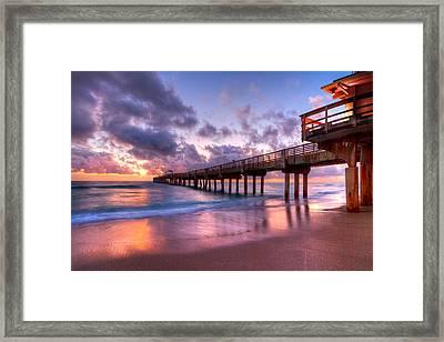 Morning Pier Framed Print by Debra and Dave Vanderlaan