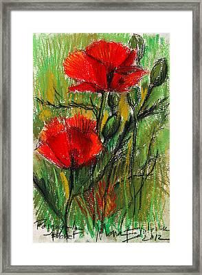 Morning Poppies Framed Print by Mona Edulesco