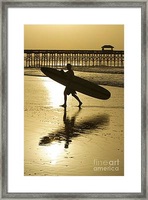 Morning Session Longboard Surfing Folly Beach Sc  Framed Print