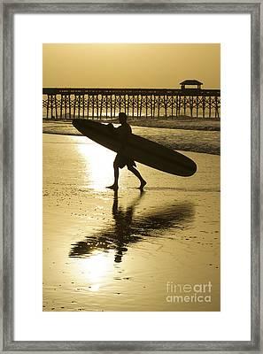 Morning Session Longboard Surfing Folly Beach Sc  Framed Print by Dustin K Ryan