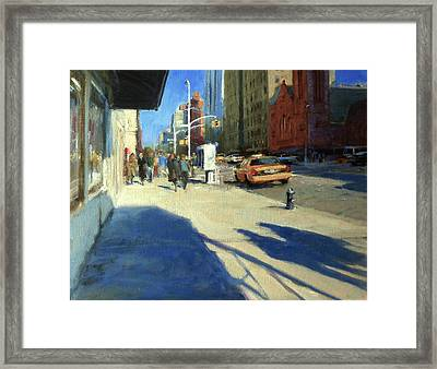 Morning Shadows On Amsterdam Avenue  Framed Print by Peter Salwen