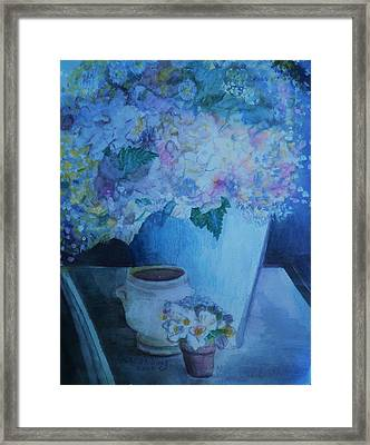 Morning Table Bouquet And Cups  The Cropped Version Framed Print by Anne-Elizabeth Whiteway
