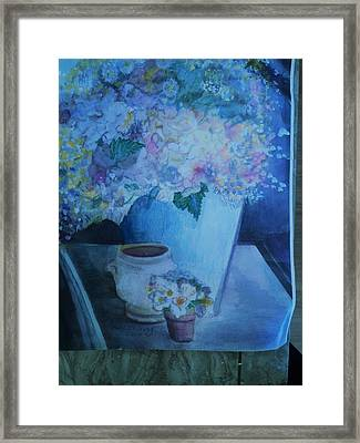 Morning Table With Bouquet And Cups Framed Print by Anne-Elizabeth Whiteway