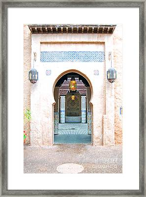 Morocco Pavilion Doorway Lamps Courtyard Fountain Epcot Walt Disney World Prints Accented Edges Framed Print by Shawn O'Brien
