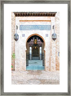 Morocco Pavilion Doorway Lamps Courtyard Fountain Epcot Walt Disney World Prints Ink Outlines Framed Print by Shawn O'Brien