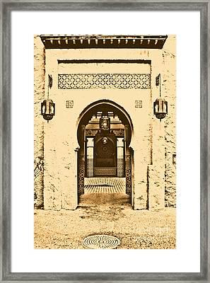 Morocco Pavilion Doorway Lamps Courtyard Fountain Epcot Walt Disney World Prints Rustic Framed Print by Shawn O'Brien