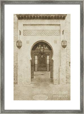Morocco Pavilion Doorway Lamps Courtyard Fountain Epcot Walt Disney World Prints Vintage Framed Print by Shawn O'Brien