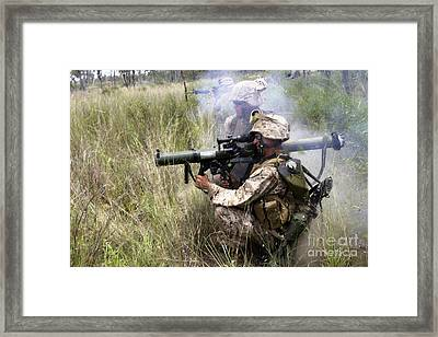 Mortarman Fires An At4 Anti-tank Weapon Framed Print by Stocktrek Images