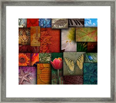 Mosaic Earth Tone Nature Rough Patterns Framed Print by Angela Waye