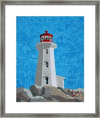 Mosaic Lighthouse Framed Print by Kerri Ertman