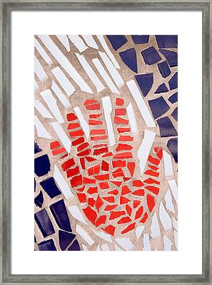 Mosaic Red Hand Framed Print by Carol Leigh