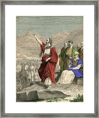 Moses, Christian, Hebrew And Muslim Framed Print