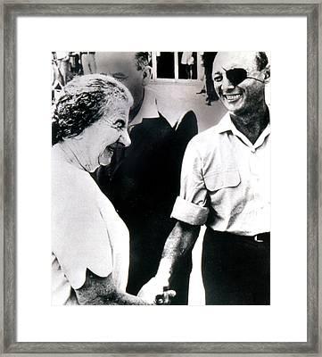 Moshe Dayan R., With Golda Meir Ca. 1970 Framed Print