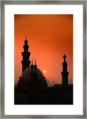 Mosques And Sunset In Cairo, Egypt Framed Print by Glen Allison