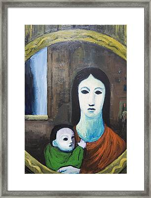 Mother And A Child In The Mirror Framed Print by Kazuya Akimoto
