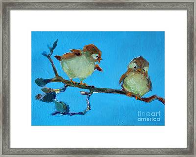 Mother And Baby Bird Framed Print