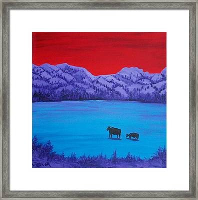 Mother And Calf Framed Print by Randall Weidner