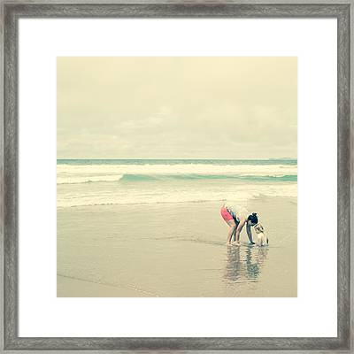 Mother And Child By The Seaside Framed Print