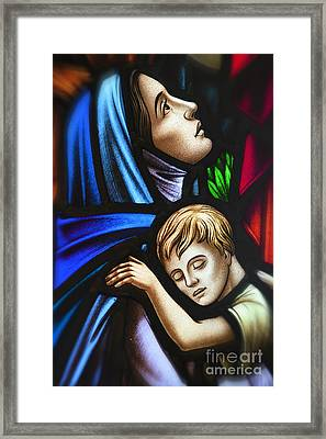 Framed Print featuring the photograph Mother And Child Stained Glass by Verena Matthew